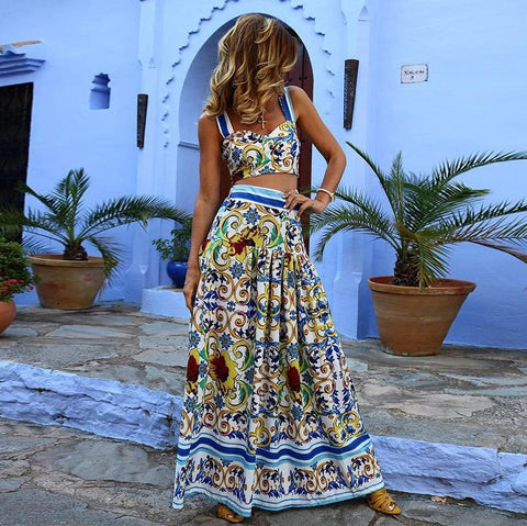 Floral Midriff Baring Suit Dress