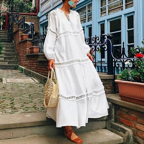 V Neck Lantern Long Sleeve Hollow Out Casual White Maxi Dresses for Women