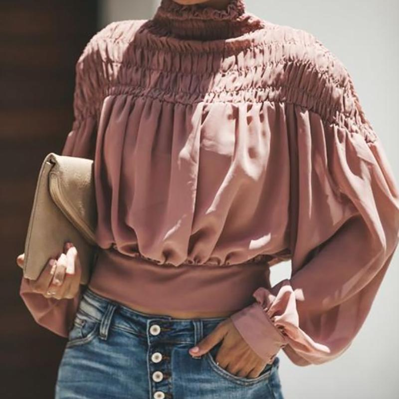 Light Colour High Neck Ruffled Lantern Long Sleeve Blouse