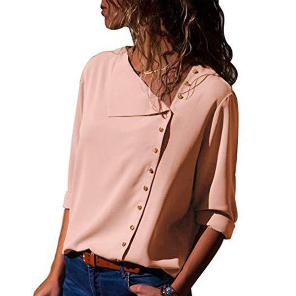Lapel Button Loose   Chiffon Shirt