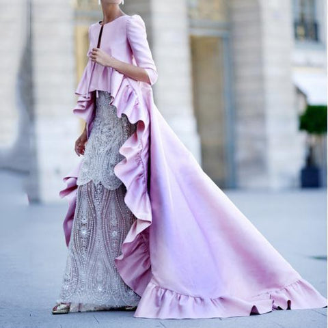Sexy Solid Color Ruffled Pink Maxi Dress