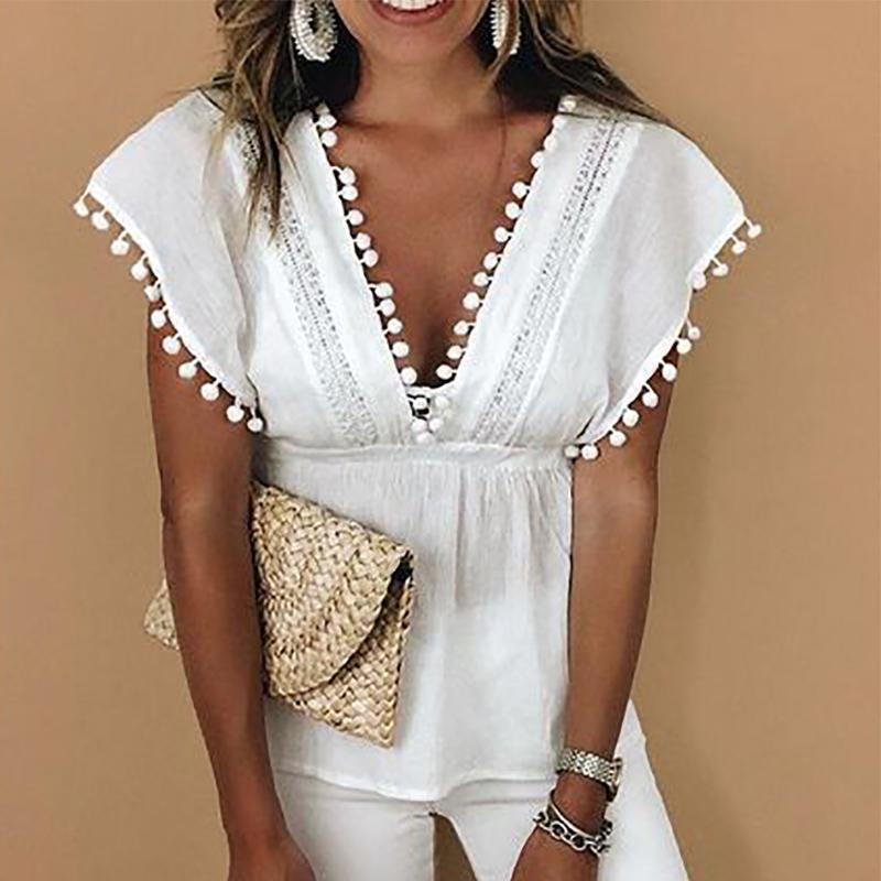 Sexy V Neck Splicing Hollow Out Bare Back Blouses