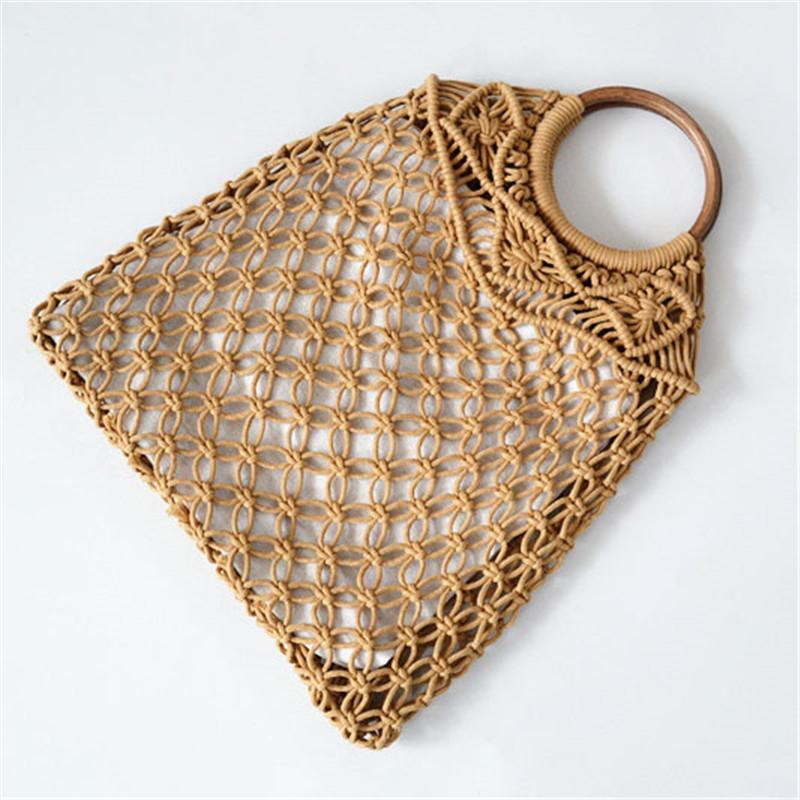 Summer Straw Weaving Vine Handle Beach Tote Bags