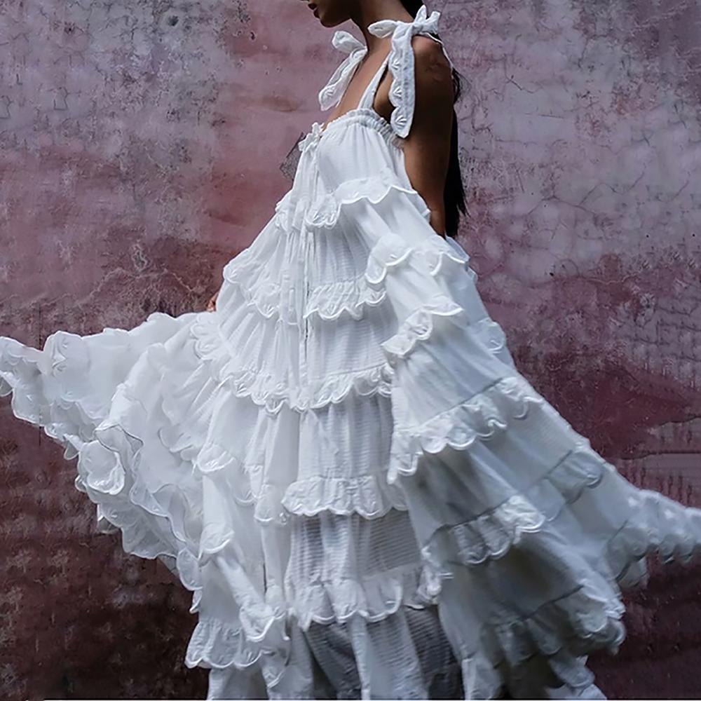 Sling Vintage Ruffled Belted Pleated Sleeveless White Maxi Dresses for Women