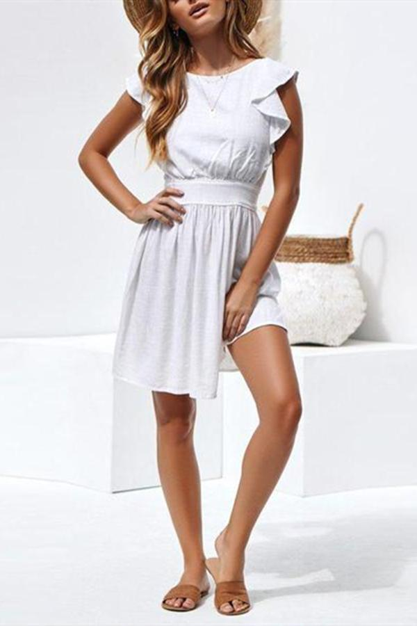 Open-Back Ruffled Strap With Large Swinging Mini Dress