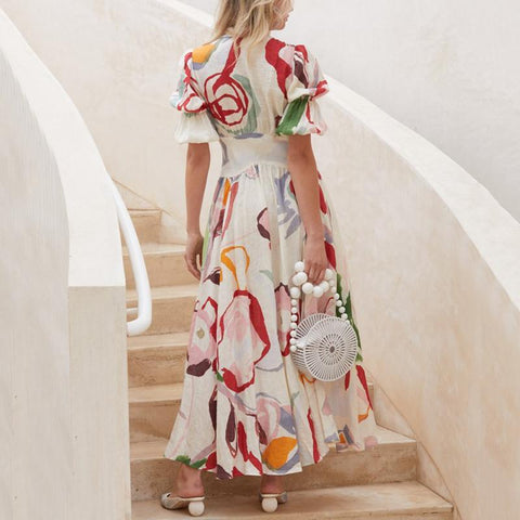 V Neck Single-Breasted Printed  Maxi Dresses