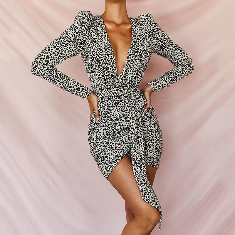 Fashion Leopard Print V Neck Long Sleeve Resist Cross Dress