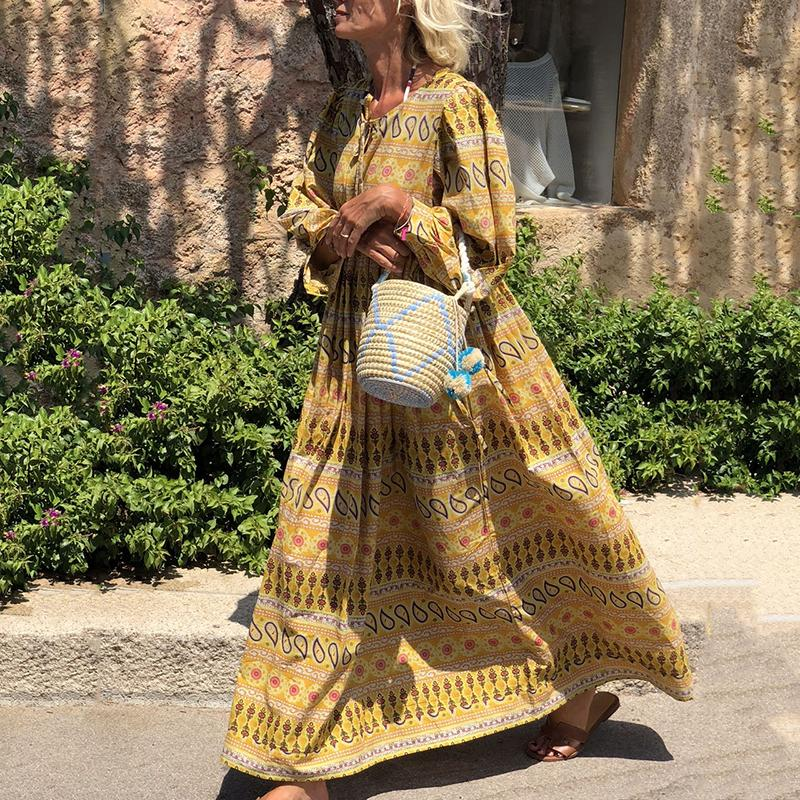 Bohemian Printed Colour Long Sleeve Round Neck Dress