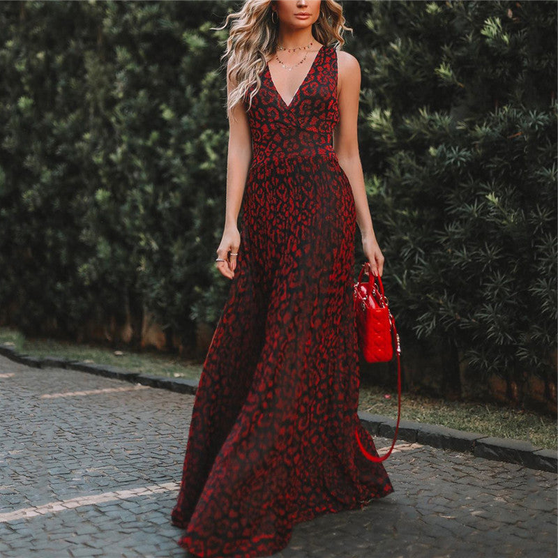 Elegant V-Neck Printed Slim Evening Dresses