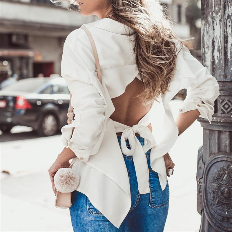Women's Fashion Solid Color Backless Lace-Up Shirt