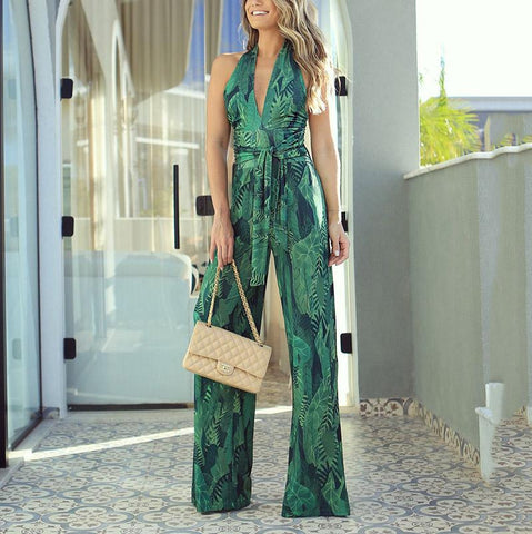 Women's Bohemian Belted Sleeveless V Neck Off-Shoulder Jumpsuit