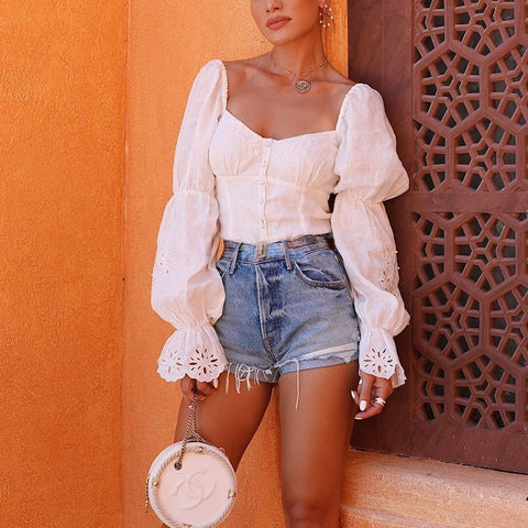 Fashion Square Neck Puff Sleeve Openwork Shirts
