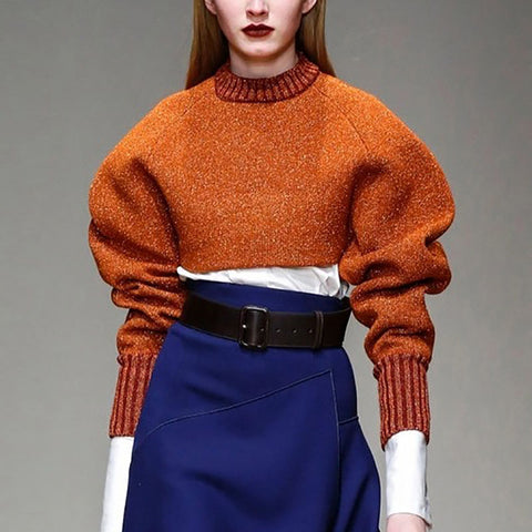 Fashion Bubble Sleeves Pure Colour Short Sweater