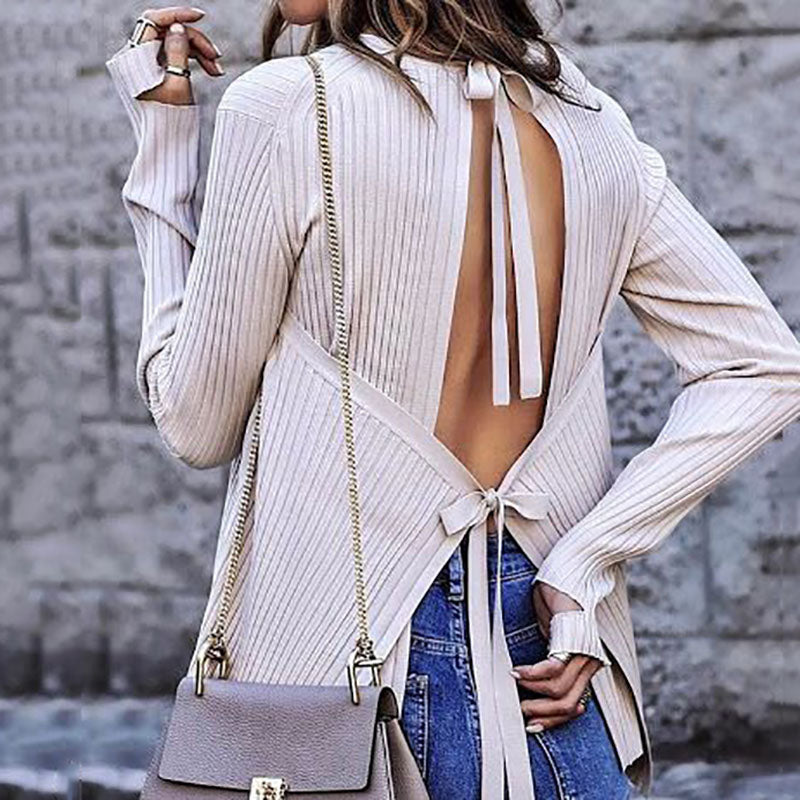 Casual Stripe Back Hole Belted Long Sleeve Top