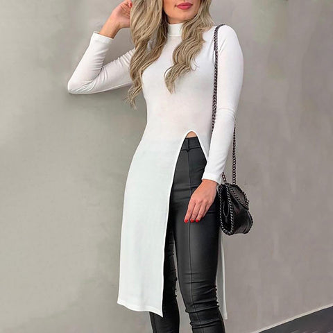 Casual Short High Collar Long Sleeve Pure Colour Slit Sweater