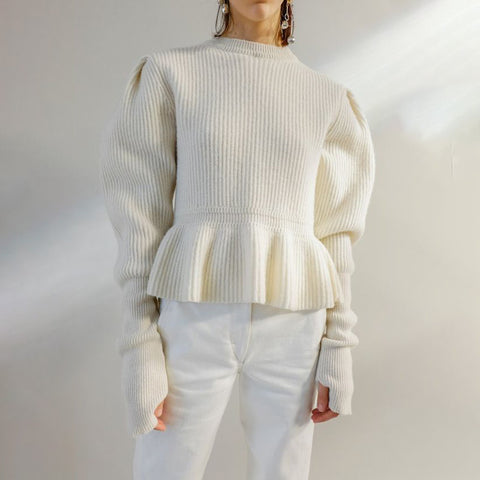 Cute Short High Collar Long Sleeve Pure Colour Sweater