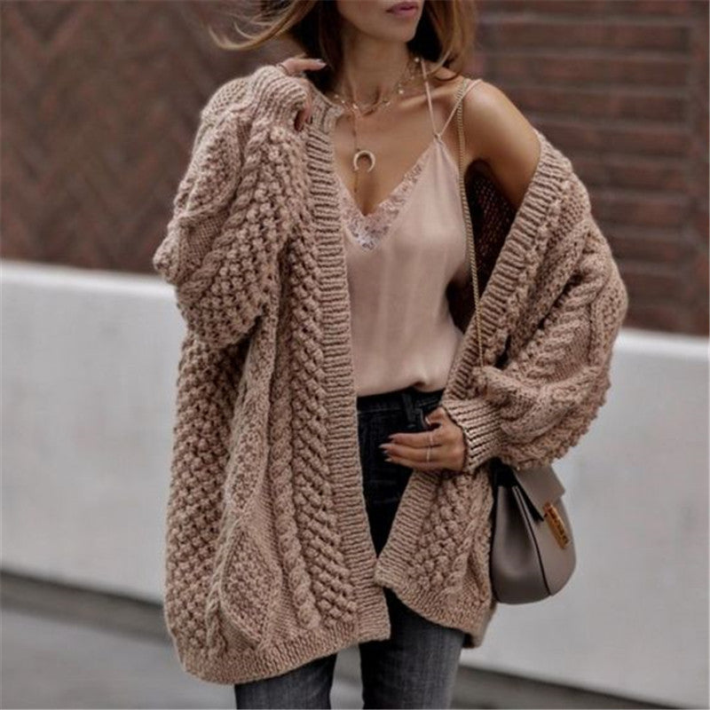 Casual Loose Knit Twist Cardigan Coat