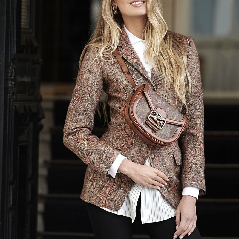 Classic Paisly Printed Suit Collar Flap Pockets Blazer