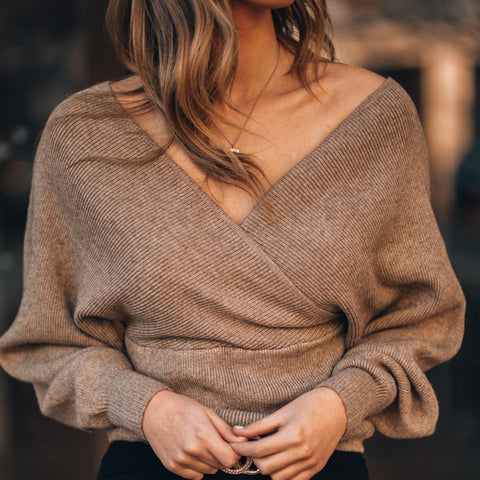 Women's casual solid color V-neck sweater