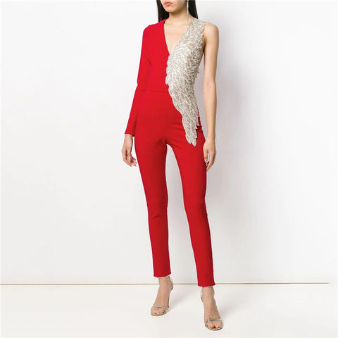 Fashion Patchwork V Neck Jumpsuit