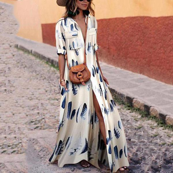 Button Down Collar Stripes Maxi Dresses