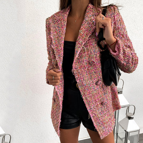 Women's Double Breasted Plaid Suit