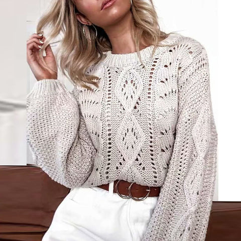 Fashion Hollow Out Bishop Sleeve Round Neck Sweater