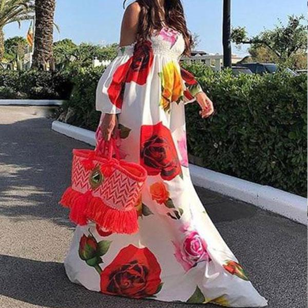 Sexy Tube Top Printed Loose Maxi Dress