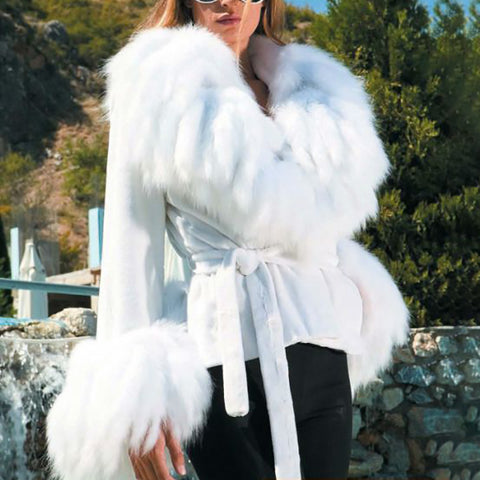 Fashion solid color faux fur tie coat