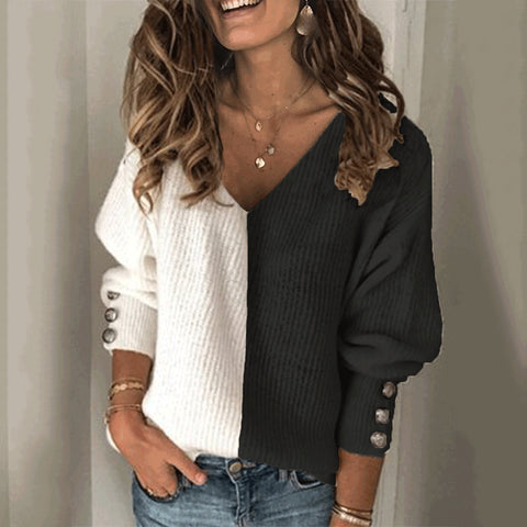 Fashion Color Matching V-neck Sweater