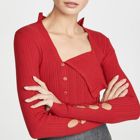Fashion Square-cut Collar Pure Color Long Sleeve Sweater