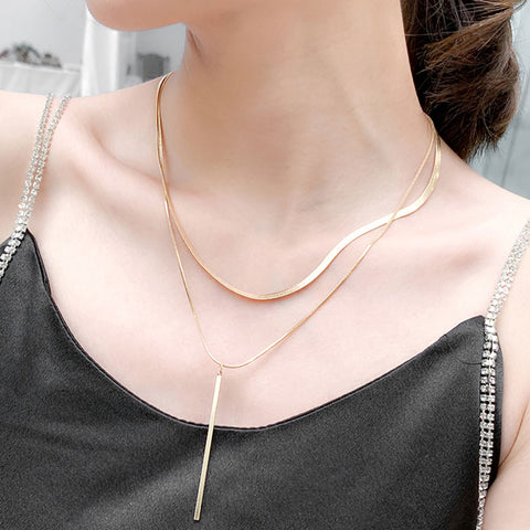 Contracted stylish long double layer alloy sweater chain