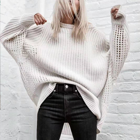 Solid-color Round Neck Hole-hole Sweater