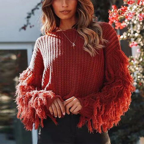 Stylish Solid Color Loose Tassel Long Sleeve Sweater