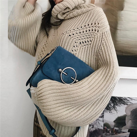 Turtleneck Solid Color Long Sleeve Knit Sweater