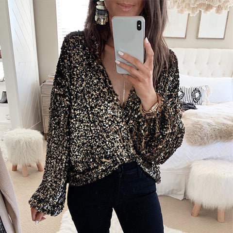 Women's fashion V-neck sequined long-sleeved shirt