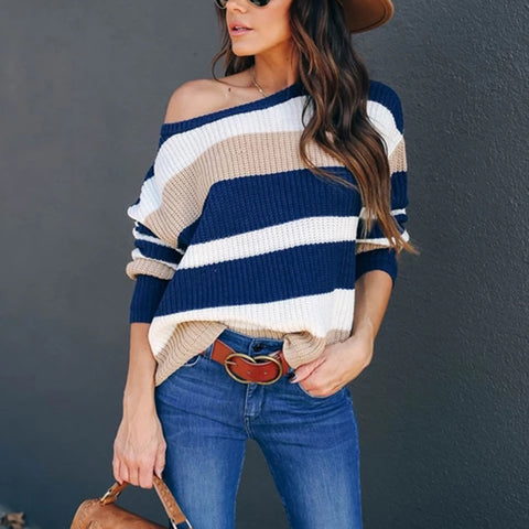 Casual Striped Long Sleeve Knit Sweater