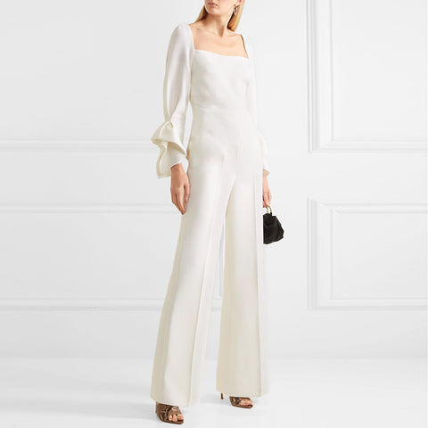 Modern Commuting White Square Collar Jumpsuit