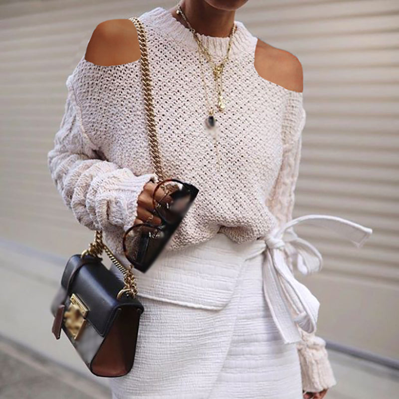 Women's Fashion Off-Shoulder Solid Color Sweater
