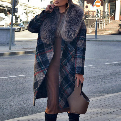 Fashion Stitching Fur Collar Plaid Coat