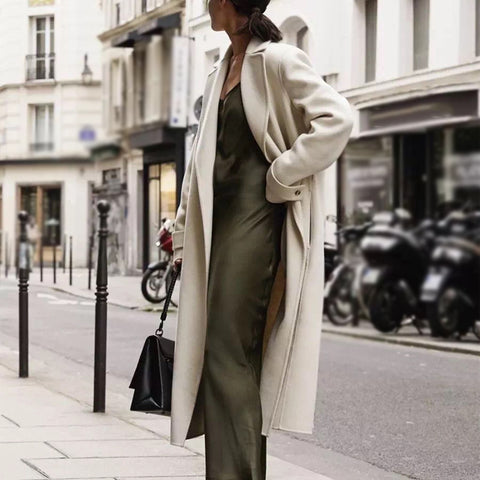 Women's fashion flip collar long coat