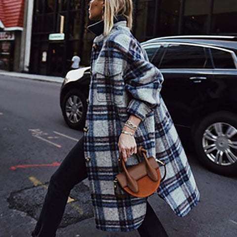 Women Plaid Single-breasted Pocket Overcoat