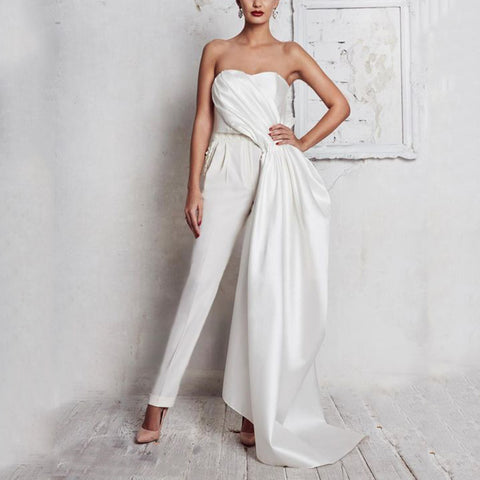 Fashion Pure Color Open Shoulder Irregular Jumpsuit