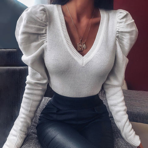 Casual Deep V-neck Pure Color Sweater