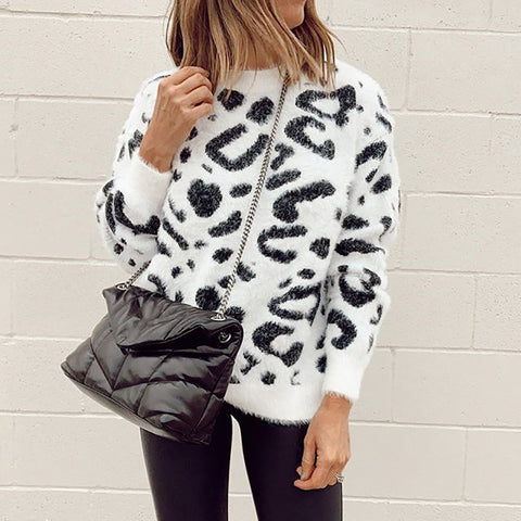 Casual round neck leopard long sleeve sweater