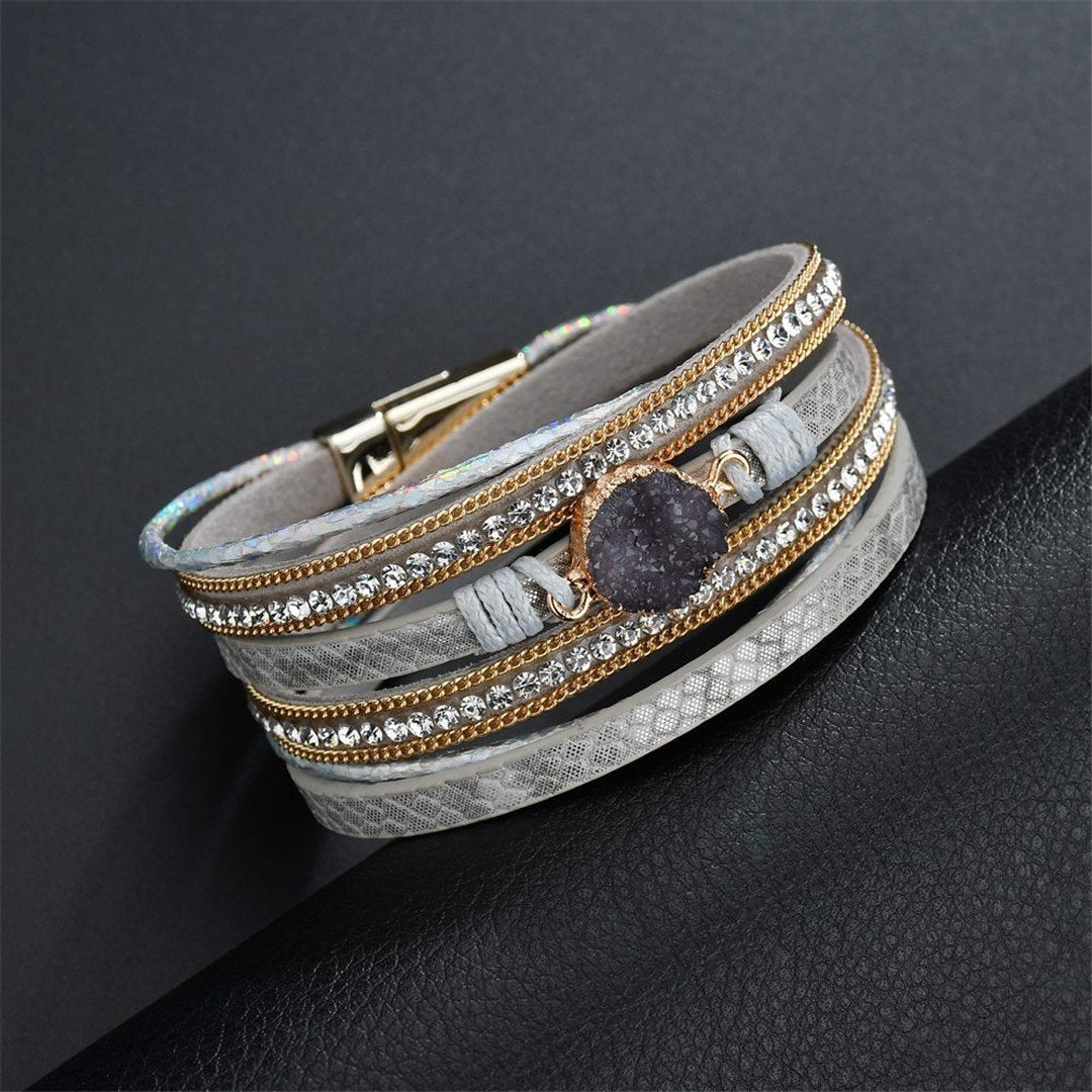 Fashion Gold Plated Diamond Magnetic Clasp   Bracelets
