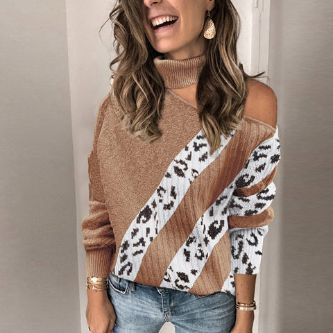 Fashion Pile Collar Strapless Hit Color Sweater