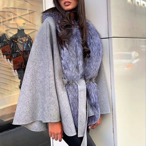 Fashionable solid color long sleeve loose belted coat