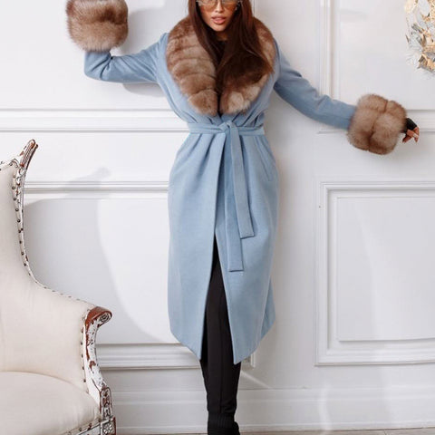 Fashion lady knotted plush coat