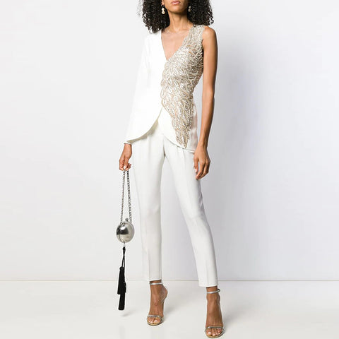Stylish V Neck Splicing Jumpsuit BFCM